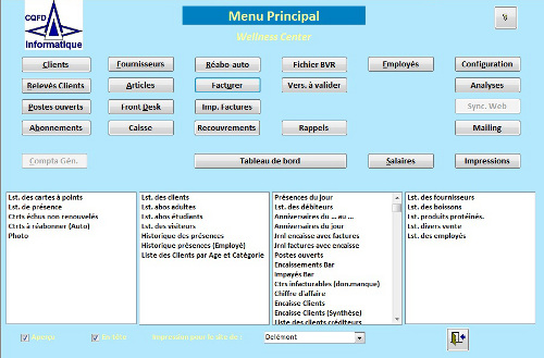 Fitness - Gestion Menu